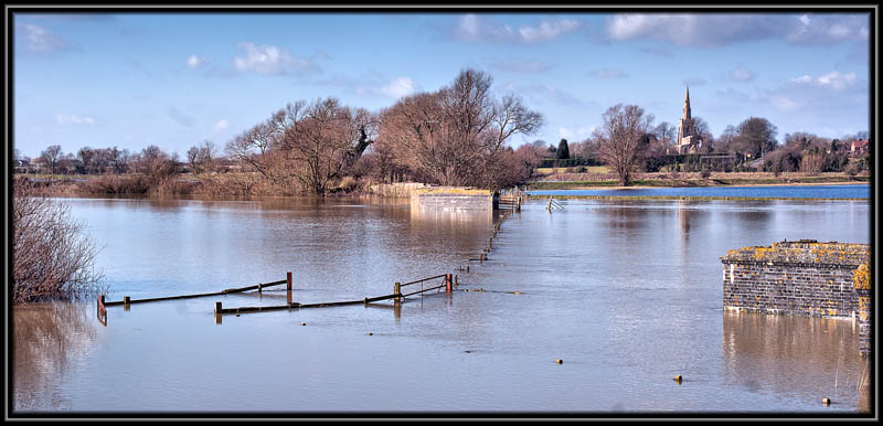 St Mary's Church, Bluntisham, Across The Flooded Great River Ouse.