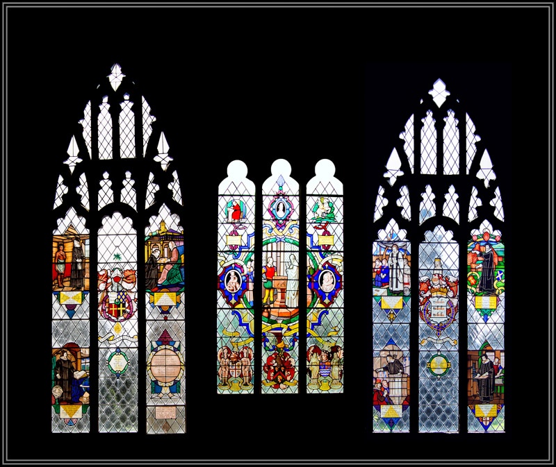 The Stained Glass Windows from left to right: The Western Window, The John Smith Window and The Eastern Window