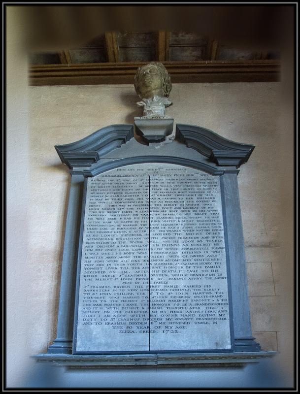 Memorial to John Dryden and his parents.