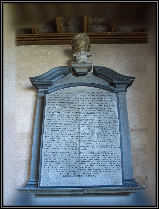 Memorial to John Dryden and his parents.