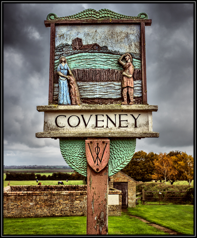 The Village Sign Coveney Cambridgeshire Showing an image of Aethelswyth