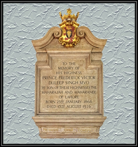 Memorial Frederick Duleep Singh, St Andrews Church, Blo Norton,, St Andrews Church, Blo Norton,
