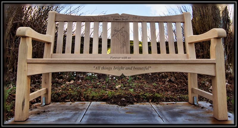 Memorial Seat in St Andrews Grave Yard, Blo Norton, Norfolk, England,