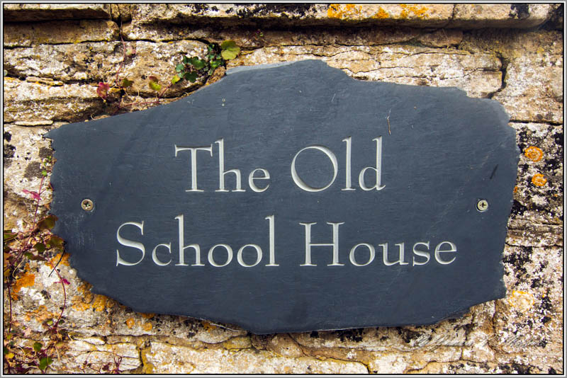 Sign, Apethorpe Old School House, Apethorpe, Northamptonshire, England.