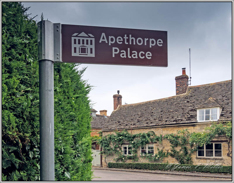 Sign to Apethorpe Palace, Apethorpe, Northamptonshire, England.