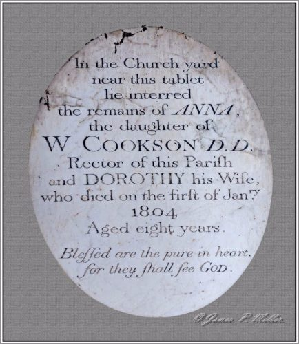 Cookson Memorial, The Wordsworth Connection, St. Peters Church, Forncett St Peter, Norfolk, England