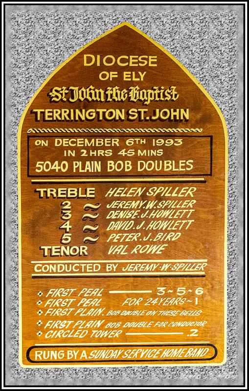 Memorial Plaque Peal of Bells, Terrington St John