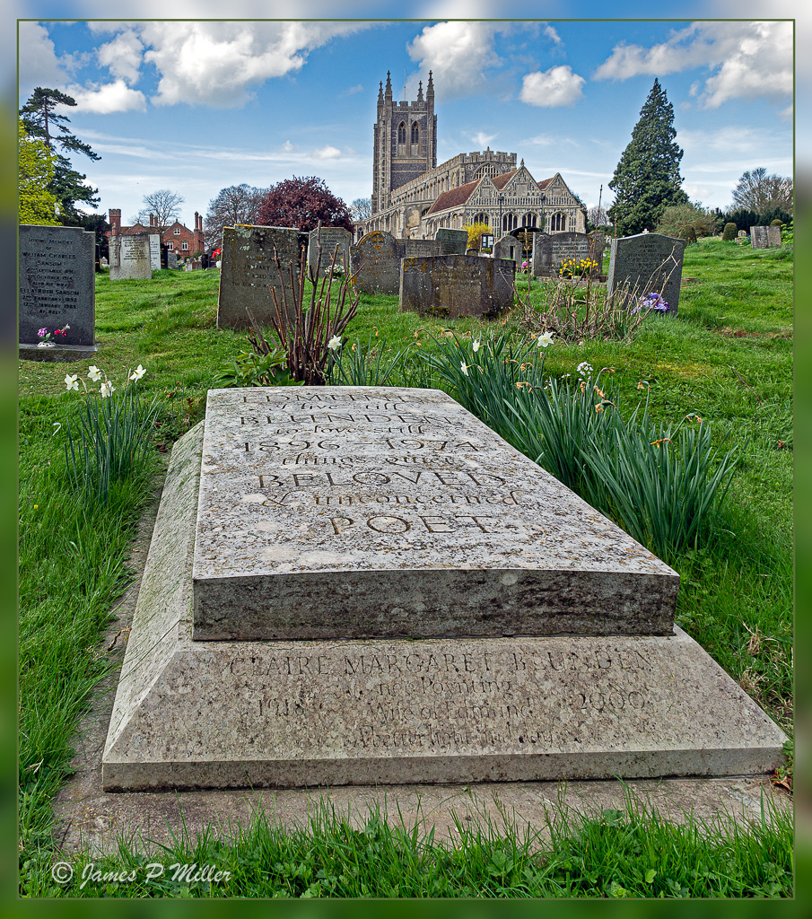Edmund Blunden's Grave in the shadow of Holy Trinity Church, Long Melford, Suffolk